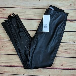 Dex Faux Leather Leggings with laces SZ small